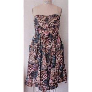 H&M ABSTRACT FLORAL BUBBLE HEM STRAPLESS DRESS 12